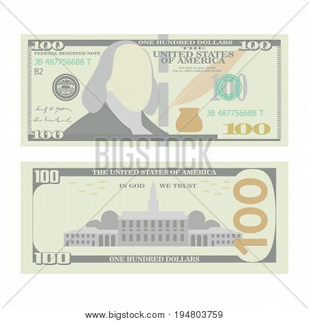 100 Dollars Banknote Vector. Cartoon US urrency. Two Sides Of One Hundred American Money Bill Isolated