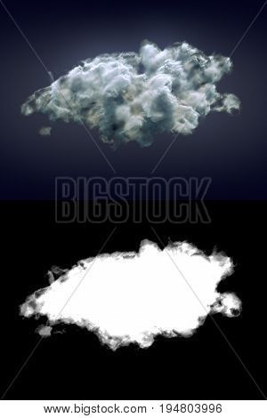 Storm cloud on dark background with alpha channel. 3d rendering