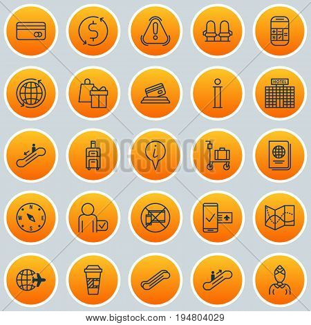 Transportation Icons Set. Collection Of Resort Development, Locate, Hostess And Other Elements. Also Includes Symbols Such As Locate, Up, Shopping.