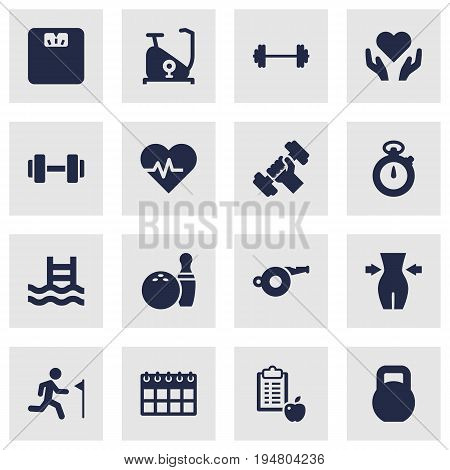 Set Of 16 Fitness Icons Set.Collection Of Slimming, Barbell, Body Balance And Other Elements.