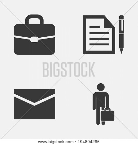 Business Icons Set. Collection Of Work Man, Suitcase, Envelope And Other Elements. Also Includes Symbols Such As Mail, Man, Contract.