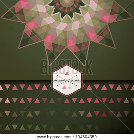 Vector envelope for invitations or congratulations. Abstract round pattern. Multicolored triangles and stains. Place for your text.