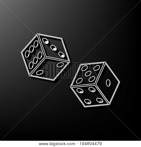 Dices sign. Vector. Gray 3d printed icon on black background.