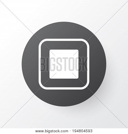 Stop Music Icon Symbol. Premium Quality Isolated Stop Button Element In Trendy Style.