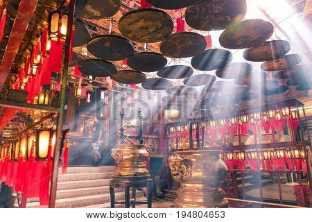 Central, Hong Kong, 10 May 2017 -: Interior lanterns of the Man Mo Temple in Hong kong