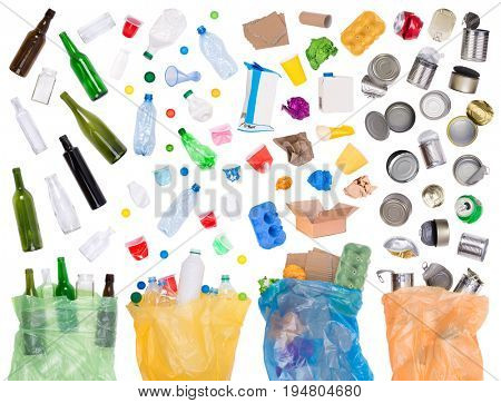 Samples of trash that can be recycled on white background and in plastic bags