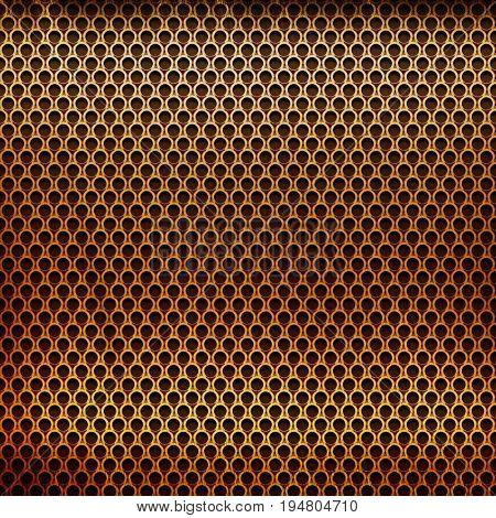 golden metal grid background for industrial or technology design
