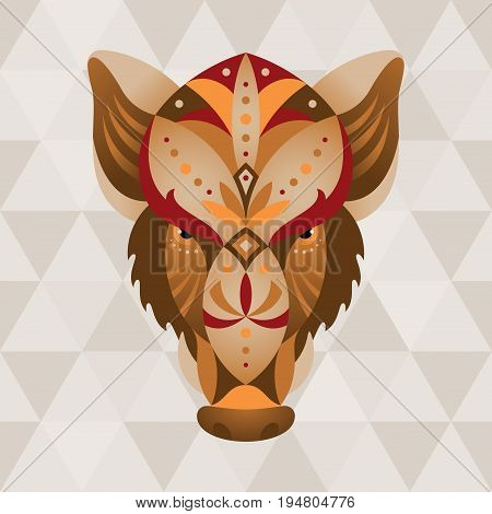 Boar. Chinese horoscope sign. Vector illustration in ethno style.