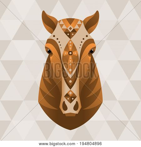 Horse. Chinese horoscope sign. Vector illustration in ethnic style.