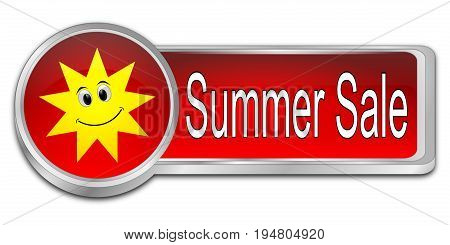 decorative red Summer Sale Button - 3D illustration