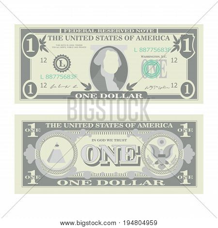 1 Dollar Banknote Vector. Cartoon US Currency. Two Sides Of One American Money Bill Isolated Illustration. Cash Symbol 1