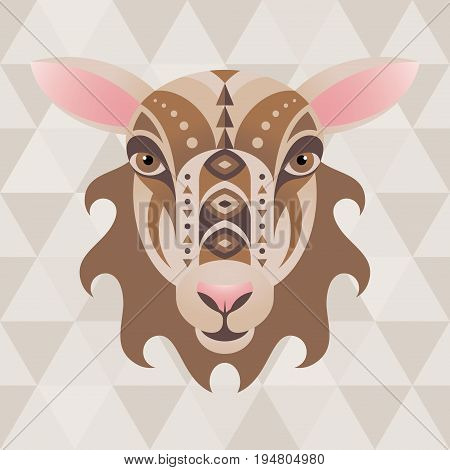 Sheep. Chinese horoscope sign. Vector illustration in ethnic style.