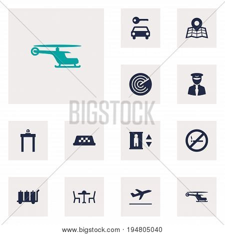 Set Of 12 Plane Icons Set.Collection Of Location, Forbidden, Leaving And Other Elements.