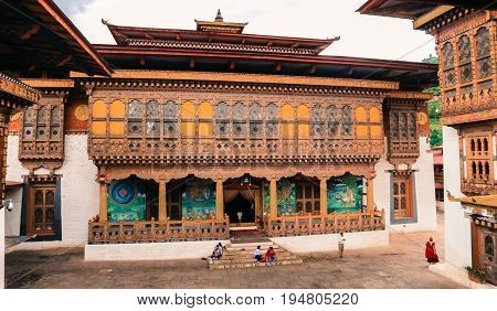 Thimphu, Bhutan - September 10, 2016: People Visiting A Traditional Bhutanese Temple Architecture In