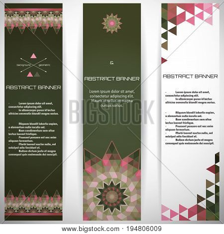 Set of three vertical banners. Multicolored triangles. Complied with the standard sizes.
