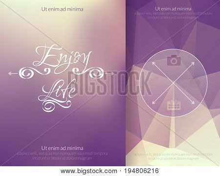 Triangle and blured abstract background and lettering Enjoy your life. Vector geometrical magenta and yellow pattern