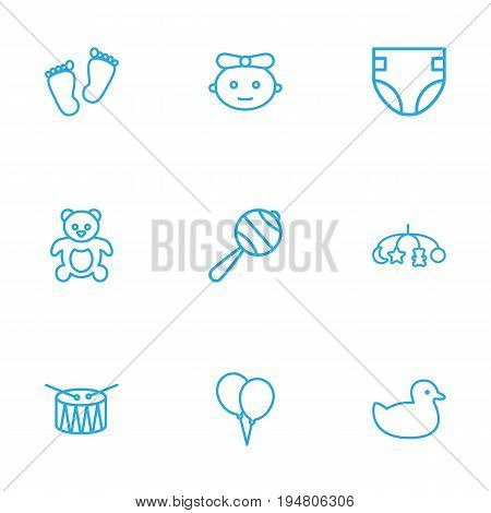 Set Of 9 Child Outline Icons Set.Collection Of Toys, Drum, Rubber And Other Elements.