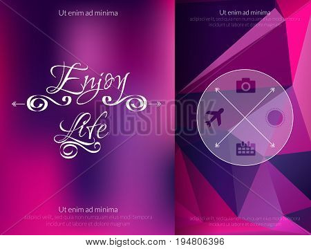 Triangle and blured abstract background and lettering Enjoy your life. Vector geometrical magenta and blue pattern