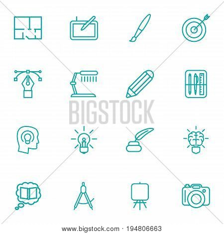 Set Of 16 Creative Outline Icons Set.Collection Of Property Plan, Concept, Paintbrush And Other Elements.
