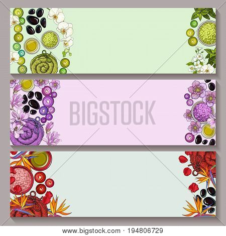 Set of three banner templates with spa salon accessories and tropical flowers on white background in green, purple and red tones, sketch vector illustration. Set of banner designs with spa accessories