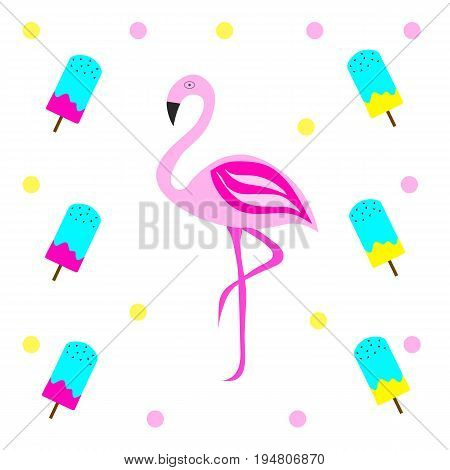 pink flamingo vector illustration with ice cream - yellow and pink polka dots background