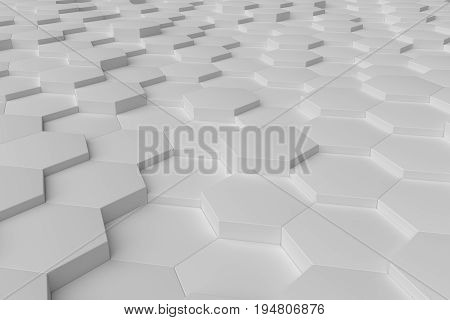White monochrome hexagon tiles perspective abstract background horizontal