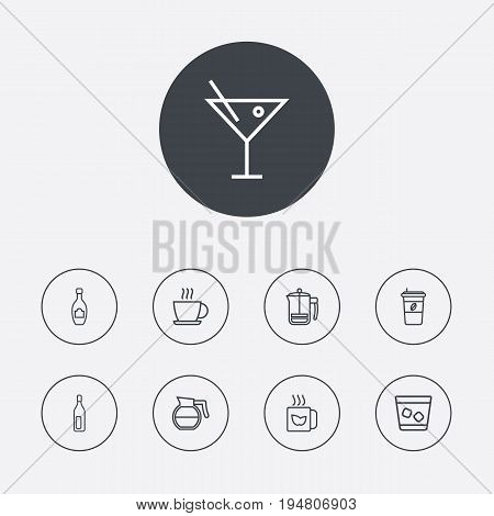 Set Of 9 Beverages Outline Icons Set.Collection Of Cappuccino, Hot Drink, Bottle And Other Elements.