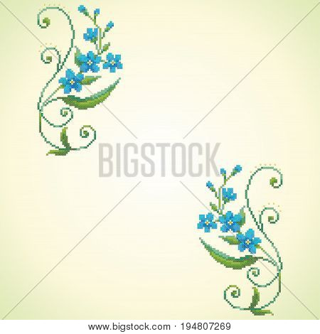 Seamless vector background. Pattern imitates embroidery cross stitch and beads. Beautiful flowers of forget-me-not.