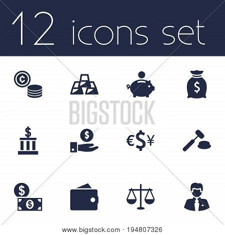 Set Of 12 Finance Icons Set.Collection Of Building, Balance, Money And Other Elements.
