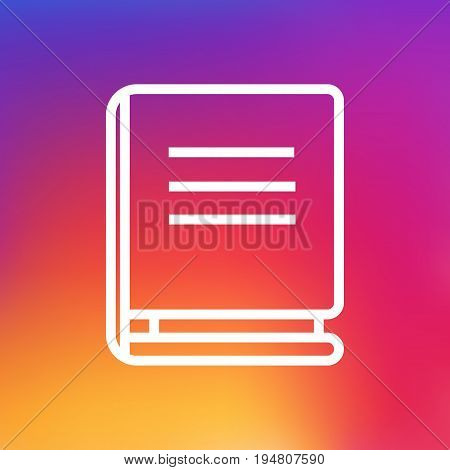 Isolated Textbook Outline Symbol On Clean Background. Vector Encyclopedia Element In Trendy Style.