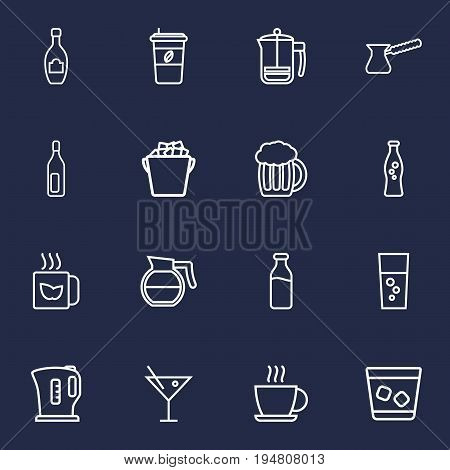 Set Of 16 Drinks Outline Icons Set.Collection Of Whiskey, Hot Drink, Fizzy Water And Other Elements.