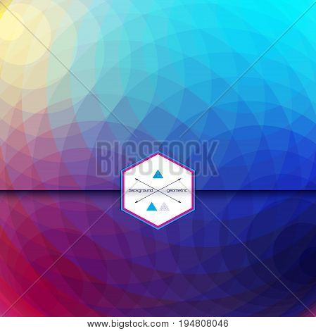 Vector envelope for invitations or congratulations. Abstract round pattern. Multicolored polygons. Place for your text.