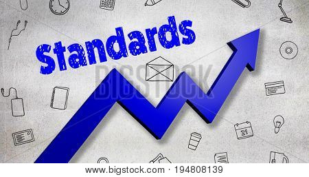 Digitally generated image of standards text  against black wall