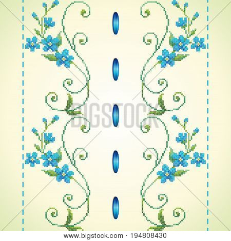 Seamless vector background. Pattern imitates embroidery cross stitch and beads. Beautiful flowers of forget-me-not and satin ribbon.