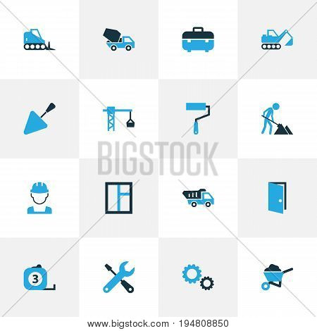 Building Colorful Icons Set. Collection Of Worker, Gear, Measure Tool And Other Elements. Also Includes Symbols Such As Wrench, Roller, Cement.