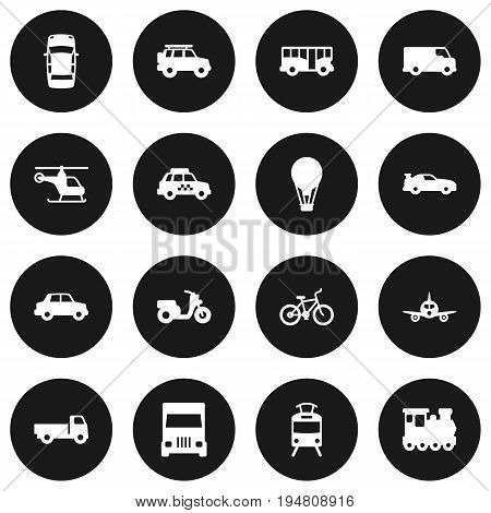 Set Of 16 Transport Icons Set.Collection Of Scooter, Wagon, Autobus And Other Elements.