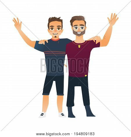 Male friendship - two boys, men, friends hugging each others, waving, cartoon vector illustration isolated on white background. Front view portrait of boys, men, friends standing, hugging each other
