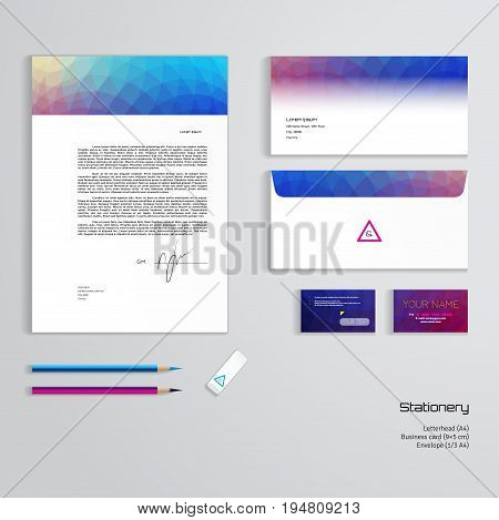 Vector identity templates. Multicolored geometric pattern. Letterhead envelope business card pencils eraser. Easy editing of all parts and colors. Dimensions are given.