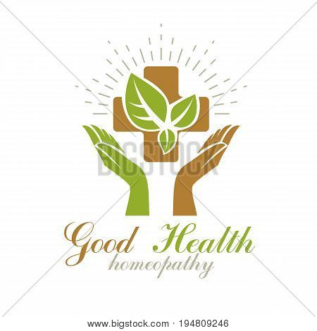 Religious Christianity cross composed with green spring leaves. Medical rehabilitation vector abstract logo holistic medicine idea.