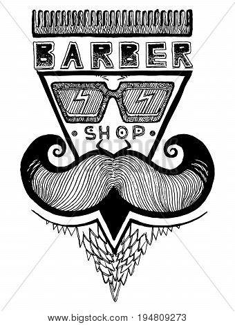 Ink Drawn Barber Shop Emblem