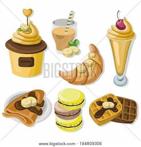 Delicious dessert chocolate pancakes, waffles and croissant set collection vector illustrations