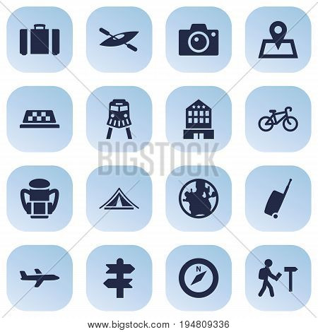 Set Of 16 Travel Icons Set.Collection Of Traveler, Baggage, Planet And Other Elements.