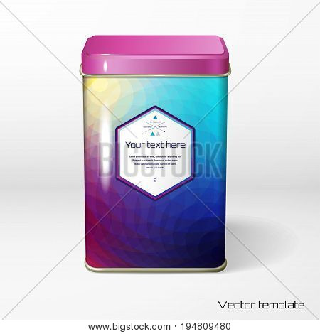 Vector object. Square tin packaging. Tea coffee dry products. Pattern of colored polygons frame for your text.