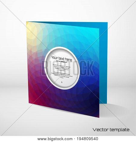 Vector card template with sample text. Multicolored polygons. Perfect for invitations announcement or greetings.