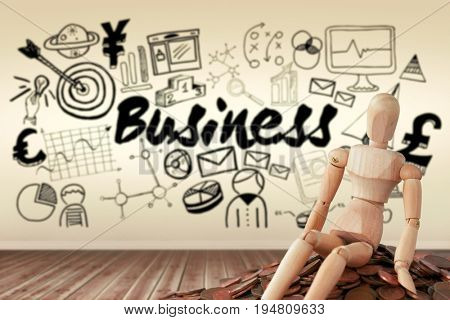 Business icons against white background against room with wooden floor