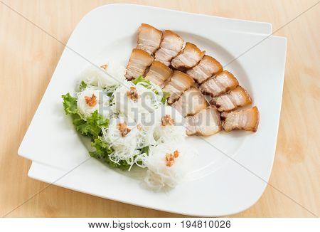 Grilled pork with noodle or Banh hoi (Vietnamese food)