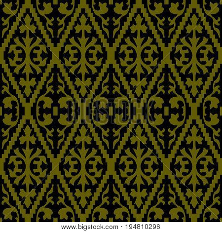 Antique Seamless Gold Background Jagged Check Spiral
