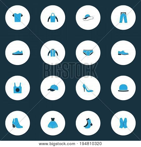 Dress Colorful Icons Set. Collection Of Socks, T-Shirt, Panama And Other Elements. Also Includes Symbols Such As Pants, Cap, Breeches.