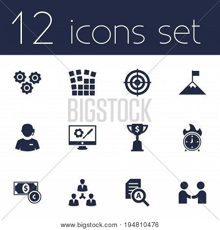 Set Of 12 Startup Icons Set.Collection Of Goblet, Currency, Repair Service And Other Elements.