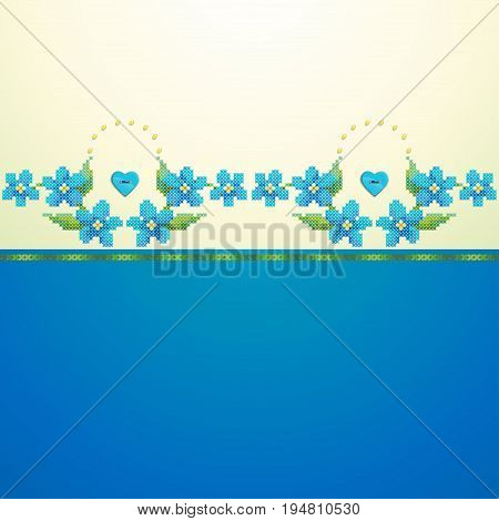 Seamless vector background. Border imitates embroidery cross stitch and beads. Forget-me-not button heart.